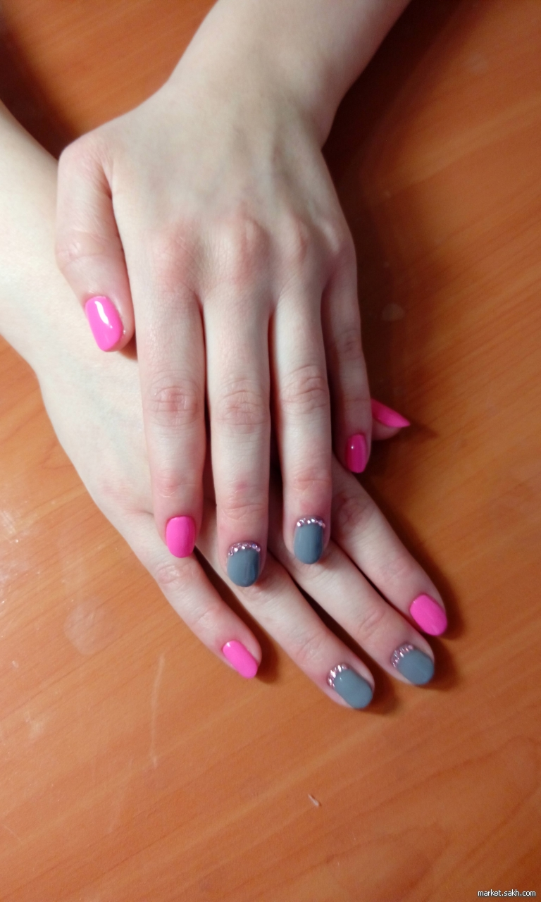 Гелевое покрытие коротких ногтей