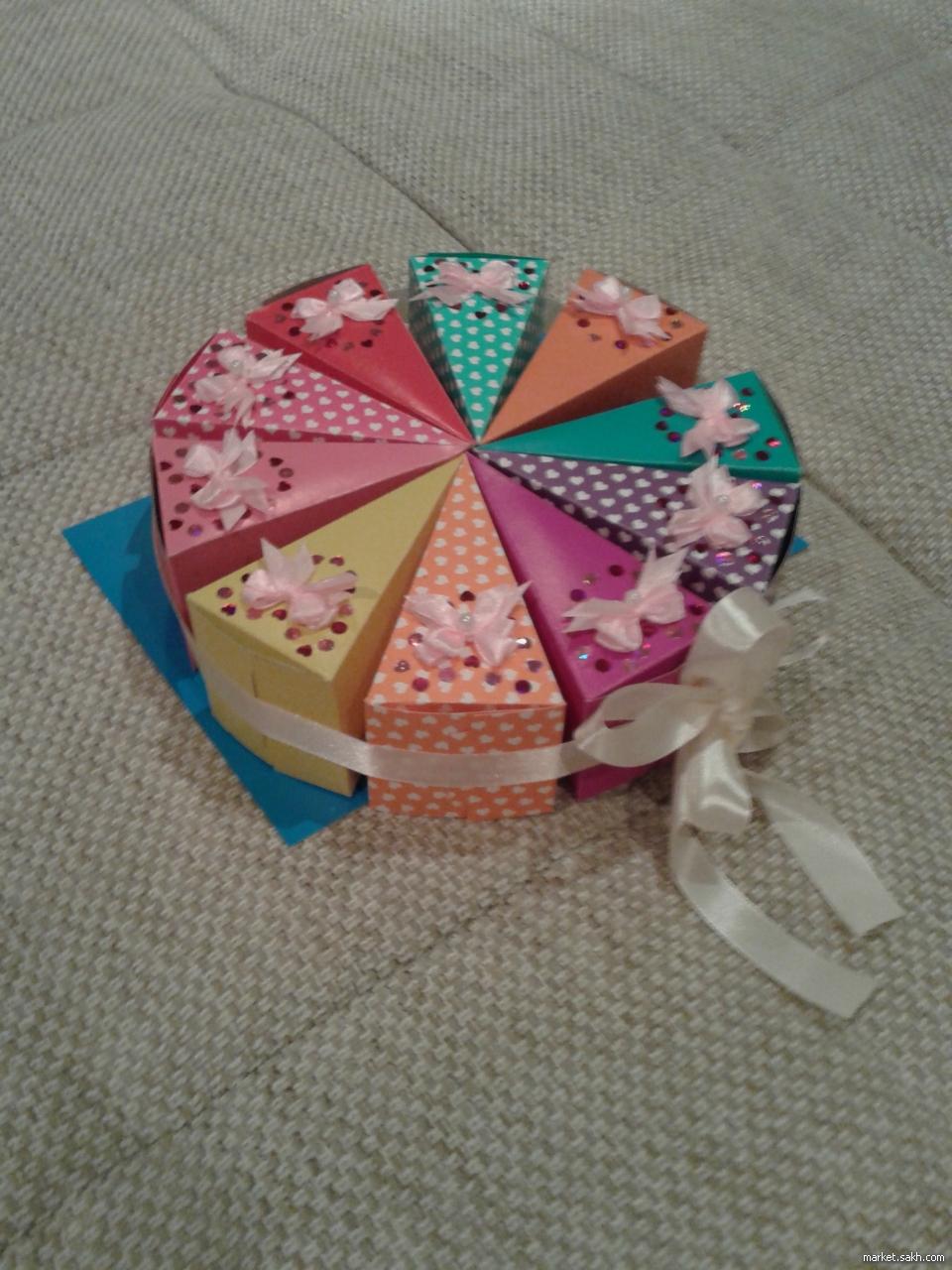 Торт из бумаги и картона с пожеланиями и сюрпризом своими 64