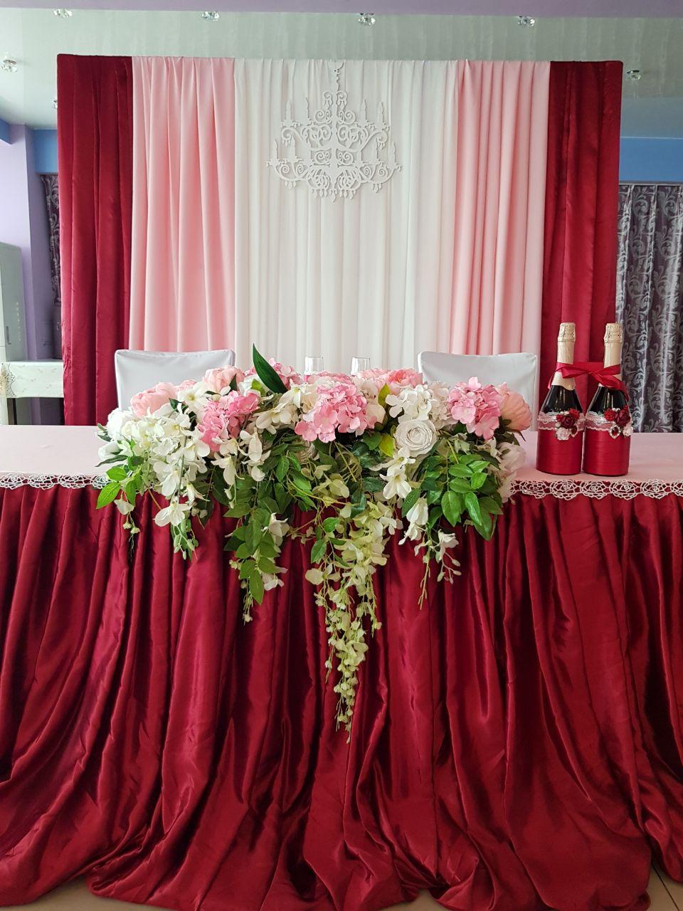 Оформление свадьбы цвет марсала фото