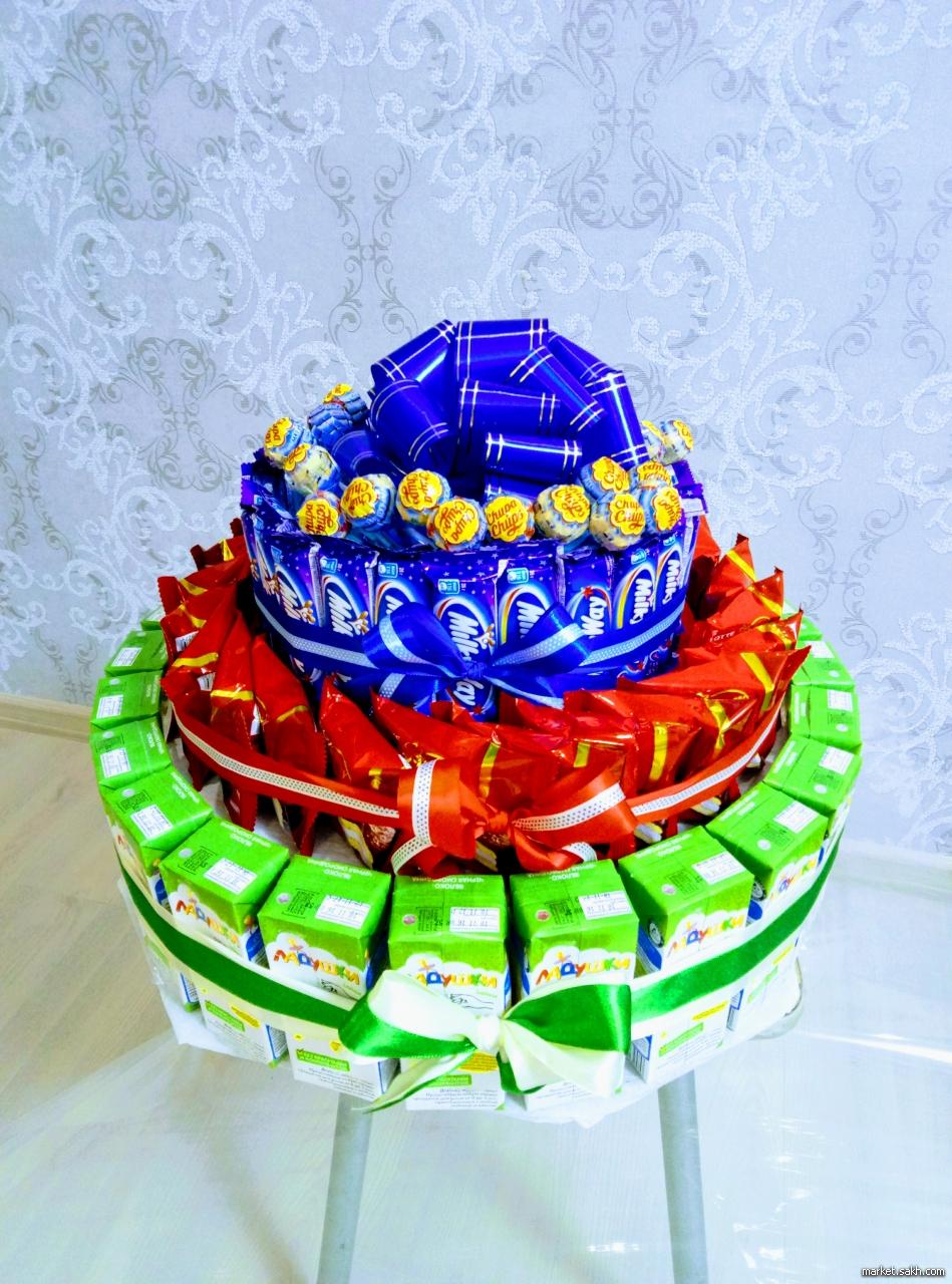 Как делать торт из сладостей фото