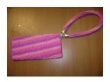 Чехол для телефона Сиреневый полосатик вязание с бисером  Просмотров: 1315 Комментариев: