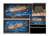 """подводная лодка ко дню военно-морского флота. Оригинальный подарок настоящему мужчине. длина лодки 62см + подставка. Использованы конфеты """"птичье молоко"""" и """"феррейро"""". Внутри лодки бутылка водки.  Просмотров: 2686 Комментариев: 0"""